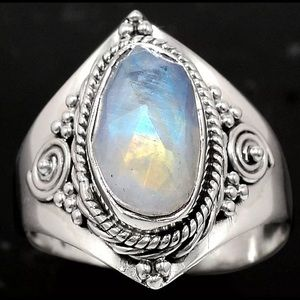 Faceted Rainbow Moonstone 925 Sterling Silver Ring